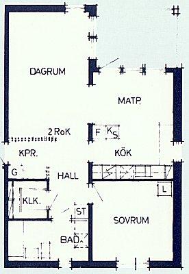 Plan över 2-rumslägenhet