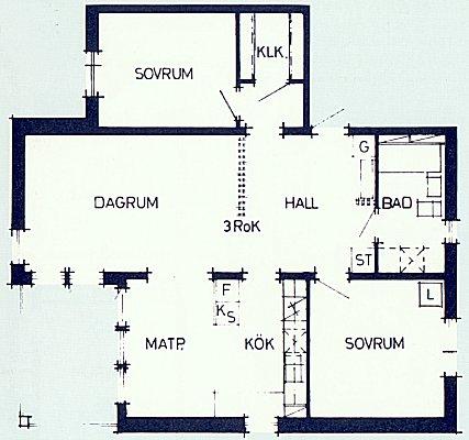Plan över 3-rumslägenhet