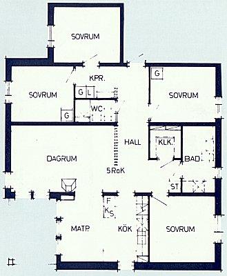 Plan över 5-rumslägenhet